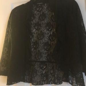 Jackets & Blazers - Black Lace 3/4 Sleeve Bolero Shrug, ruffled front